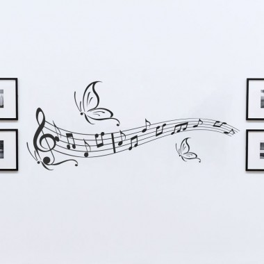 sticker partition de musique ornée de papillons
