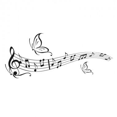 plusieurs papillons avec une partition de musique